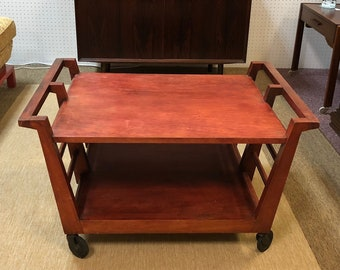 Vintage Handmade Mid Century Modern Cart Coffee Table Designed by Architect / Artist / Designer