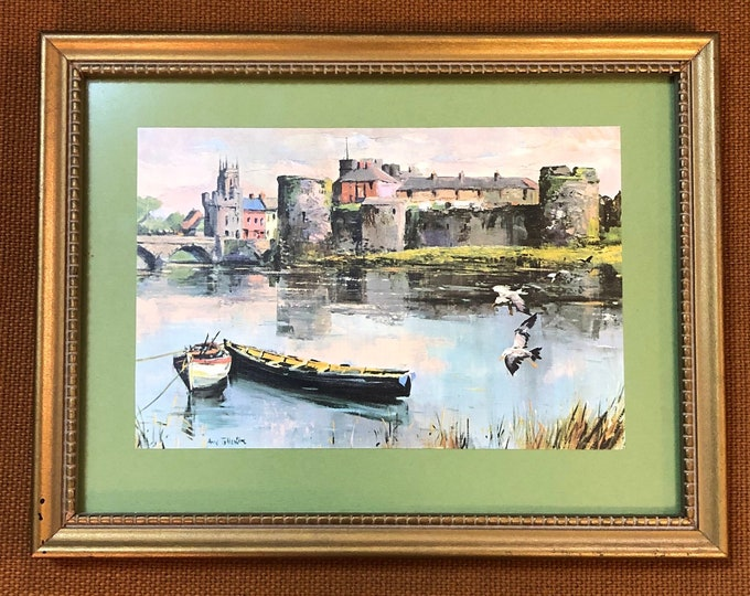 "SOLD - Small Framed Mid Century Anne Tallentire Print Art, ""King John's Castle and River Shannon, Limerick"""