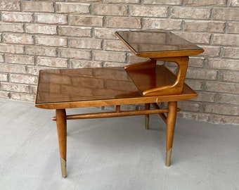 Mid Century Modern 2-Tier Step Table by Lane, Copenhagen Collection, Custom Glass Tops Included