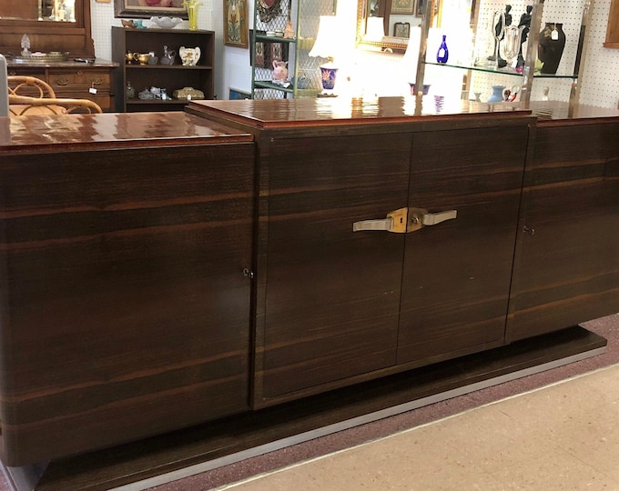 French Art Deco Rosewood Sideboard Cabinet with Goldstone Colored Glass Top