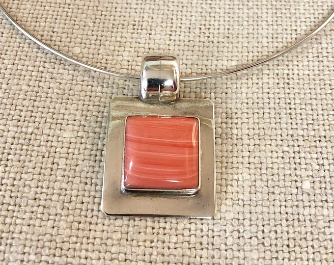 Mid Century Modernist 925 Silver Choker Necklace with Pink Stone Pendant