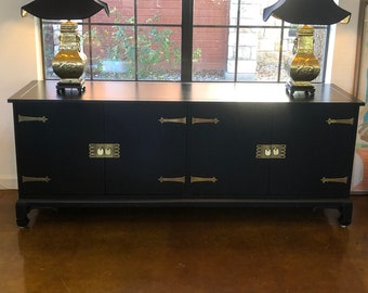 Black Lacquered Mid-Century Chinoiserie Sideboard, TV Stand, Buffet, Multi-Use Long Low Cabinet