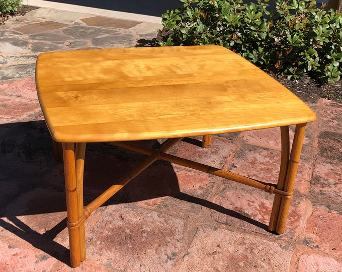Hollywood Regency Style, 1950s Mid Century Modern, Heywood Wakefield Maple and Rattan Coffee Table