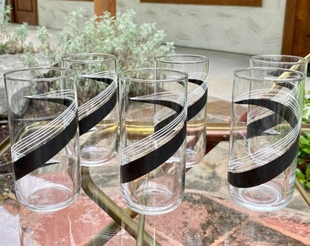 Set of 6 Libby Glass Tall Clear Glass Tumblers with White and Black Swoosh Design