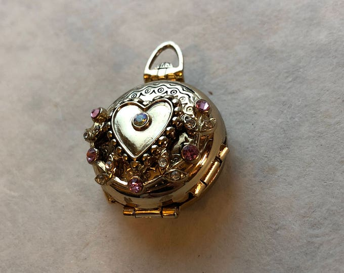 Vintage Coro Gold Heart Locket with Pink and Clear Crystal Rhinestones, Unique 3 Frame Patented Design