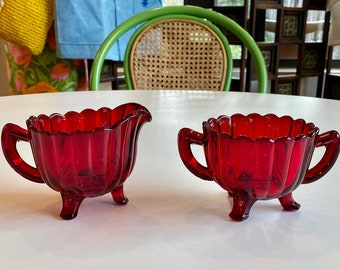 Imperial Glass-Ohio Piller Flute Ruby Red, Footed Open Creamer / Sugar Set, C. 1945-55