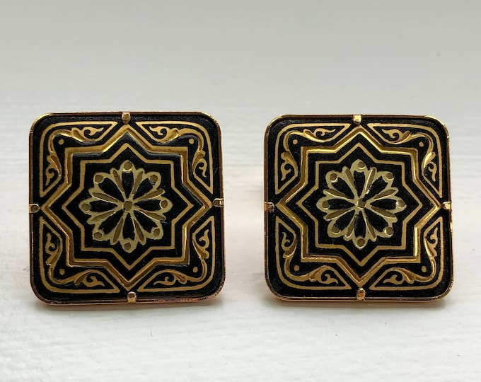 Pair of Vintage Damascene Cufflinks Star and Flower  Motif