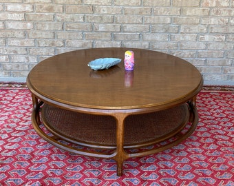 Mid Century Modern Round Walnut Coffee / Cocktail Table with Lower Caned Tier