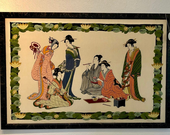 Large Mid Century Framed Chinoiserie Geisha Embroidered Textile Wall Hanging Art