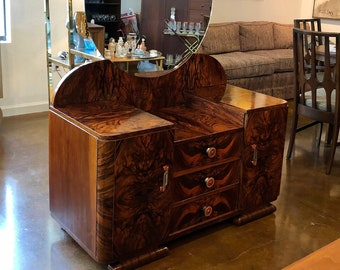 Stunning Art Deco Exotic Wood Mirrored Vanity and Chair Set