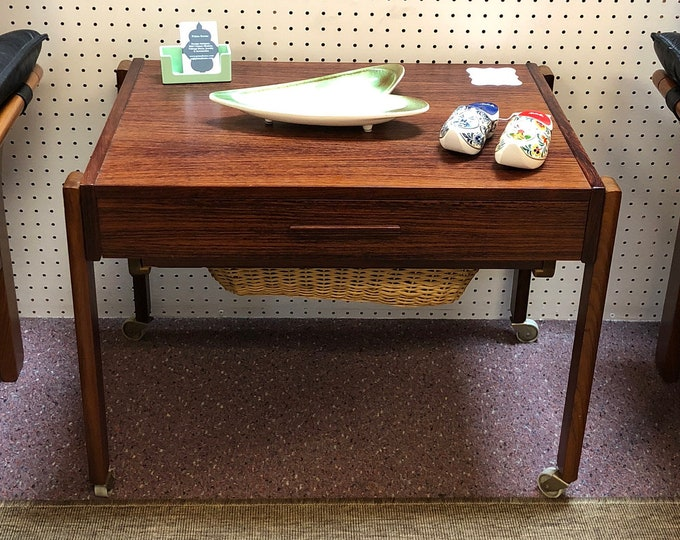 SOLD - Mid Century Modern Danish Rosewood Rolling Sewing Box / Caddy / Table