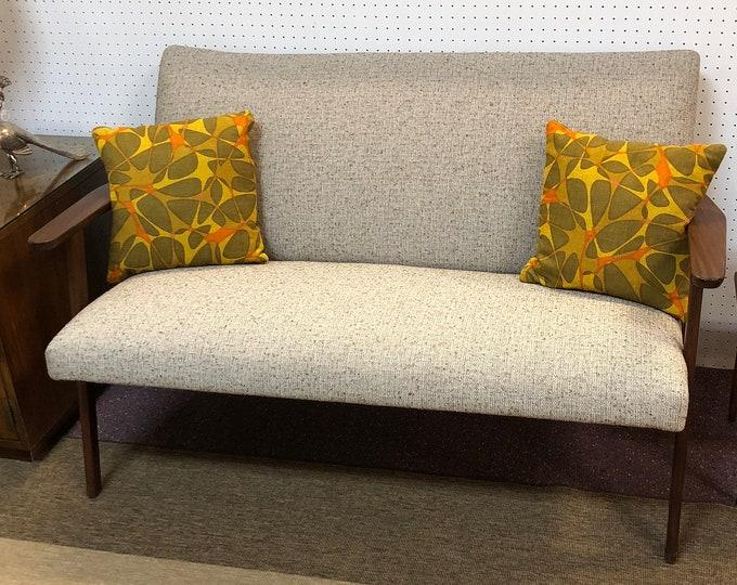Classic Mid Century Danish Modern Loveseat Sofa, Newly Reupholstered