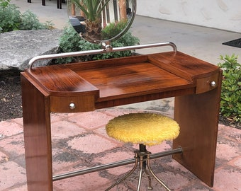 French Art Deco Rosewood Vanity Table wth Mirror and Chrome Accents