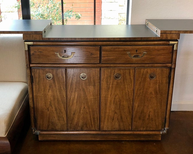 Vintage Mid Century Modern Campaign Style Drexel Fold-Out Bar Cabinet Server