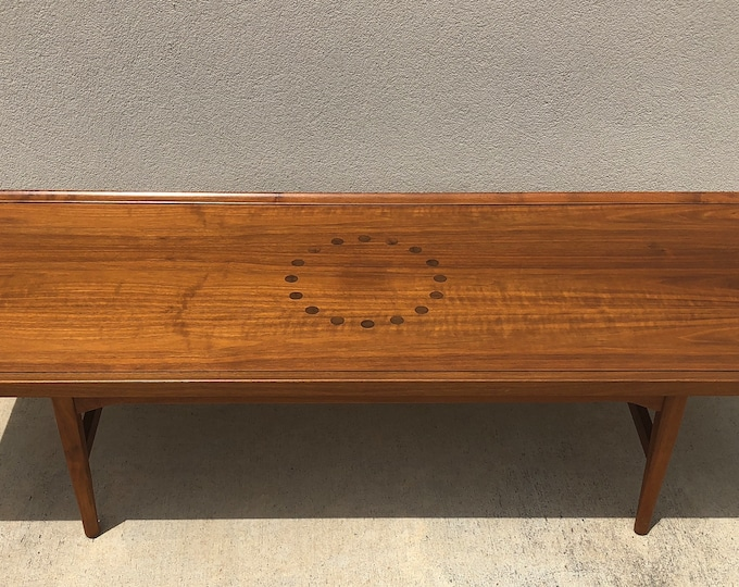 Mid Century Modern Drexel Declaration Long Rectangular Walnut Wood Coffee Table, Kipp Stewart / Stewart McDougall Design