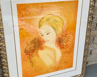 Sizable Art Nouveau Style, Modern Artist Proof Print, Newly Framed and Matted Under Glass