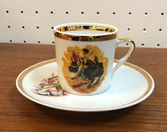 Demitasse China Tea Cup and Saucer Set with Bull Fighter Matador Themed Decoration