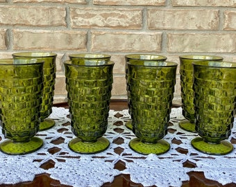 "Excellent Set of Eight Whitehall by Colony Green Iced Tea Glasses, 6""h, Footed, Flared Rim, Cubist Design"