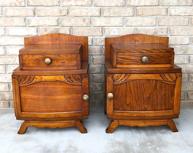 French Art Deco Oak Bedside Cabinets / Nightstands with Carved Art Nouveau Elements