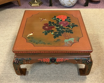 Lacquered Chinoiserie Coffee Table, Decorated in Bird, Floral, & Geometric Designs