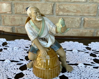 Mid Century Glazed Clay Pottery Chinese Fisherman Figure / Statue
