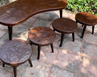 Peruvian Mid Century Modern Hand Tooled Leather Top Stools