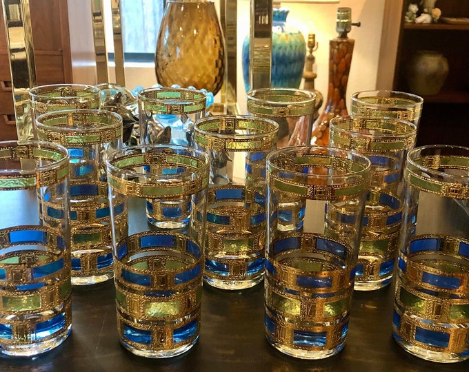Set of Eleven Culver Empress 22k Gold Detailed, Hollywood Regency, Mid Century Modern, Highball Glass Tumblers, Plus Serving Bowl Option