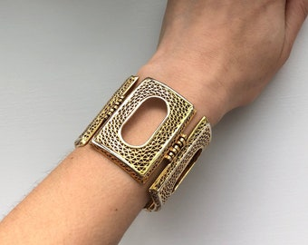 Art Deco Style Mid Century Signed Vendome Woven Window Panel Bracelet
