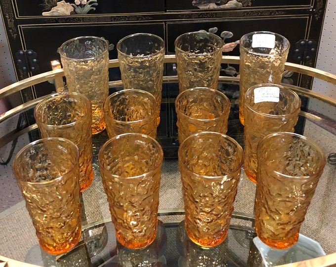 SOLD - Mid Century Crinkle Textured Amber Glass Drinking Glasses / Tea Tumblers