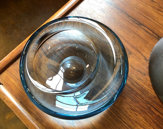 Danish Mid Century Modern Holmegaard Blue Art Glass Bowl, Signed Per Lutken, C. 1957