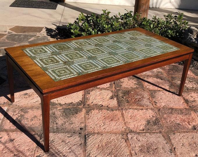 Mid Century Danish Modern Rosewood & Tile Top Coffee Table, Turquoise / Aqua Colors