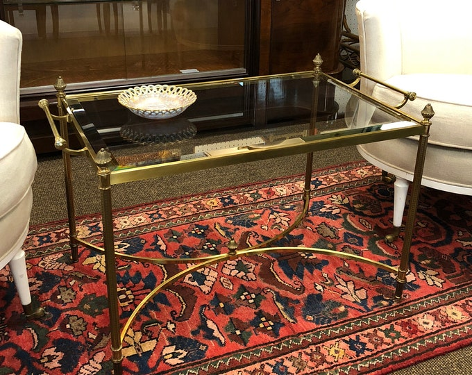 La Barge Style Cast-Brass and Beveled Glass Top Cocktail Table, Occasional Serving / Tray Table