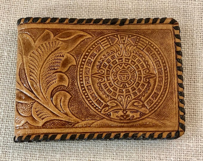 Mexican Hand Tooled Slim Leather Billfold Wallet with Aztec and Floral Designs