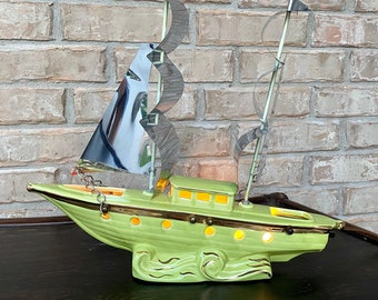 1950s Mid Century Modern Ceramic Chartreuse Green Sailboat Ship TV Accent Lamp, Lights Up