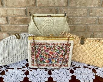 Choice of Vintage Purses including Petite Beaded Needlepoint, Woven Basket, Faux Snake Skin Top Handle Handbag, Shoulder Bag, Clutch