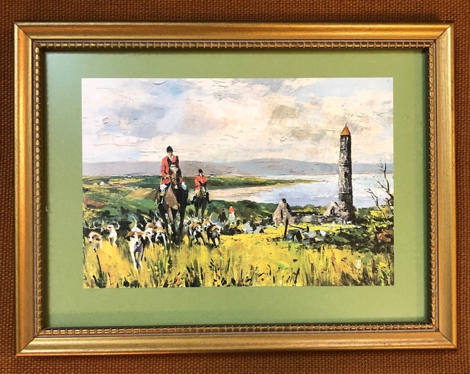 "Small Framed Mid Century Print Art Depicting Countryside Hunting Scene, ""Tally Ho! Co. Waterford"""
