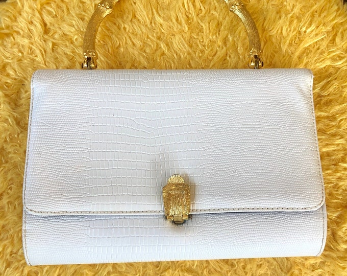 Cute Small White Mock Crocodile Clutch Handbag with Gilded Faux Bamboo Carry Handle by Ingber