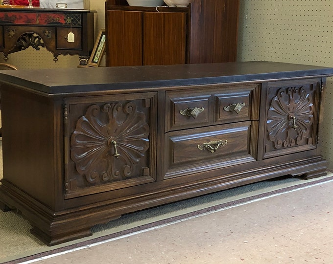"""Mid Century Kent Coffey Solid Wood  """"Window Chest"""" or Media Console / Stand / Storage Cabinet / Bench"""