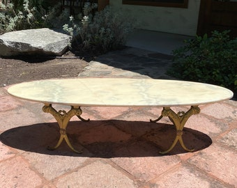 Mid-Century Italian Surfboard Marble Top Coffee Table on Gilt Metal Base