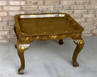 Chinoiserie Tray Coffee Table Painted with Gilt Floral and Butterly Motif