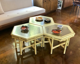 Mid Century Ficks Reed Set of Three Rattan and Textured Glass Top Nestling Tables