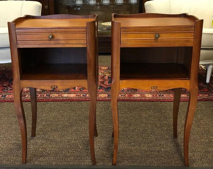 Pair of Antique French Louis XV Style Bedside Tables or Tall Nightstands