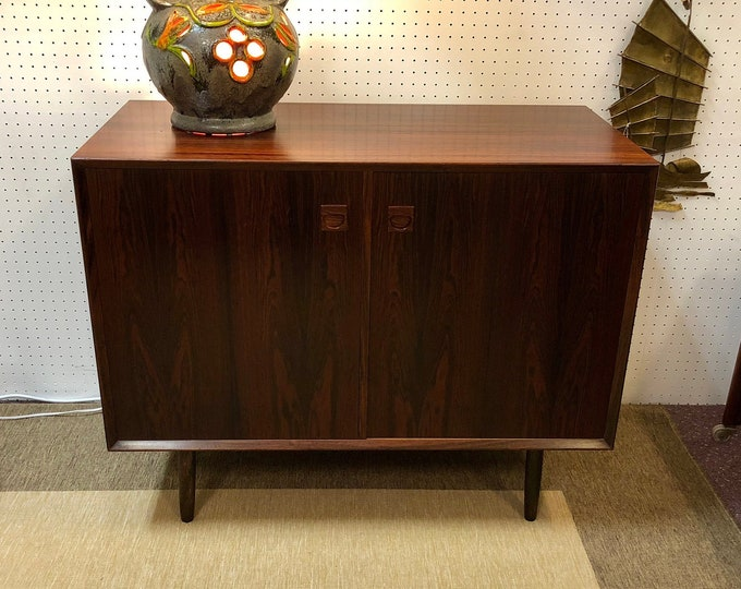 Mid Century Danish Modern Rosewood Buffet, Credenza, Sideboard, Record Cabinet, Circa 1960s