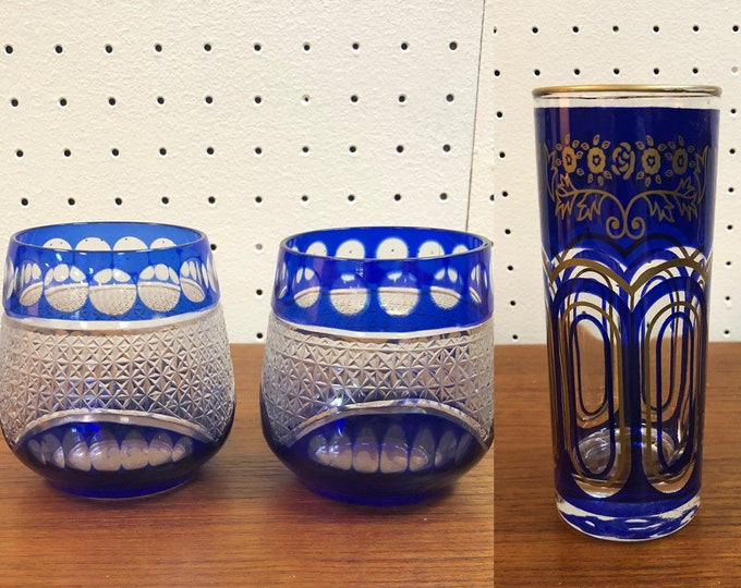 Choice of Art Deco Style Glass Candle Holders with Sapphire Blue and Gilded Accents