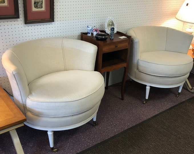 Pair of Mid Century Modern Linen Fabric Low Back Boudoir Chairs