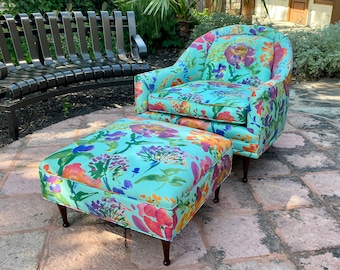 Mid Century Modern Flexsteel Lounge Chair and Ottoman, C. 1960s, Bright Cheery Aqua and Floral Upholstery