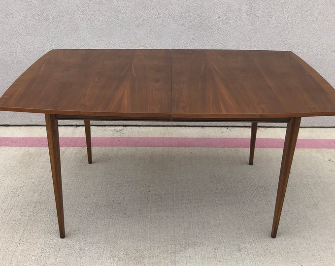 Mid Century Modern Rectangular Walnut Dining Table with Leaf, C. 1960s