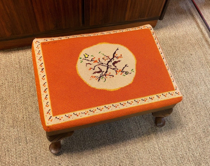 Vintage mid-century orange needlepoint footstool with Fall Inspired Motif
