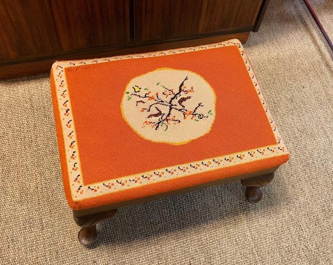 Vintage mid-century orange needlepoint footstool with Fall Inspired Motif