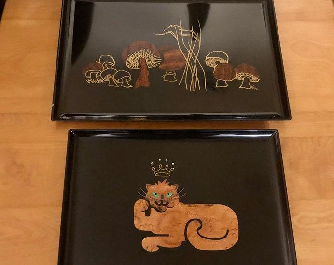 Choice of Mid Century Modern Couroc Black Satin Resin Trays, Crown Jewels Cat, Groovy Mushrooms, Burlwood, Rosewood, Rhinestone Accents